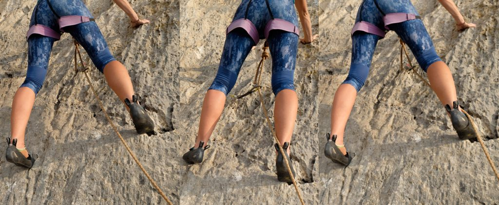 Climber has made the wrong decision to step over the rope while rope running diagonally. Climber may catch their heel or foot on the rope if falling, resulting in rope burn or falling upside down. The right-hand photo shows the climber making the correct decision to put their foot under the rope.