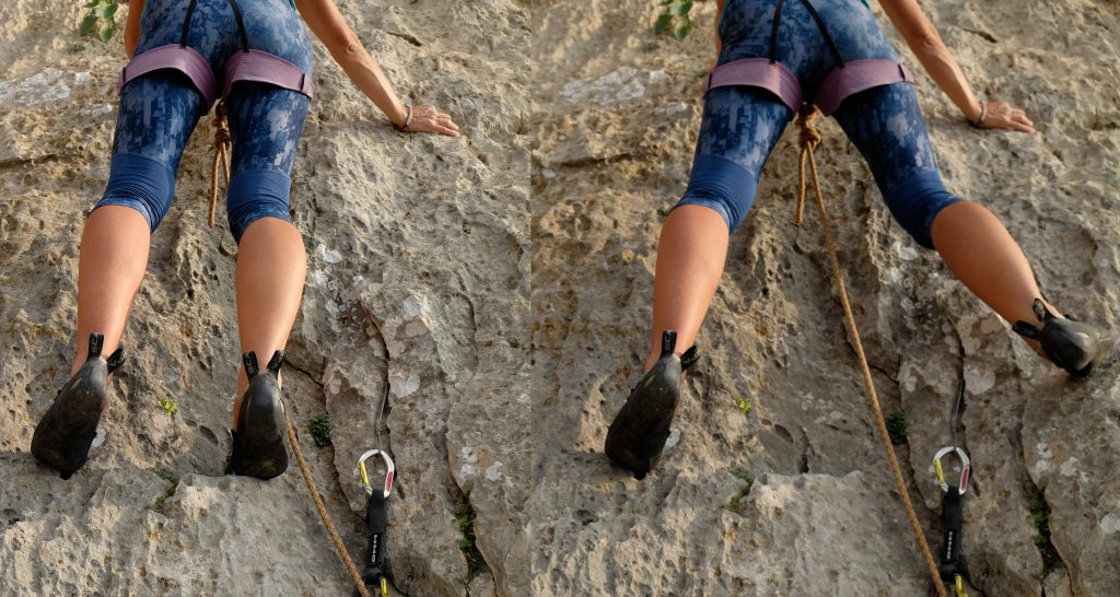 Climber makes the correct decision to go around the outside of the rope.