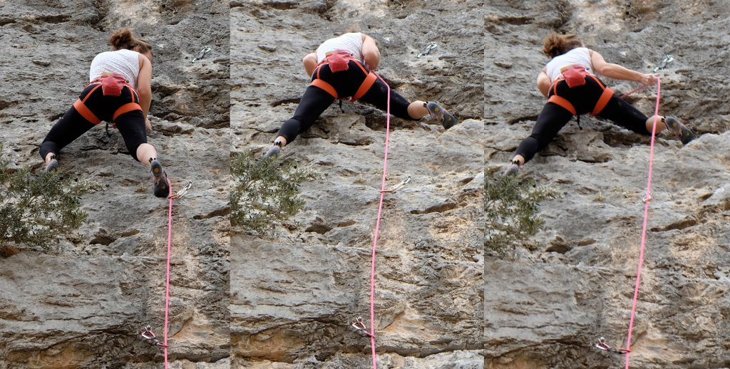 The first photo shows the climber making the correct decision to control the rope with the side of her foot. Second and third photo show how the climber has chosen a foothold that is clearly beyond (to the right of) the bolt below, but made the wrong decision to step inside the rope, resulting in having the rope behind the leg while clipping the next bolt.