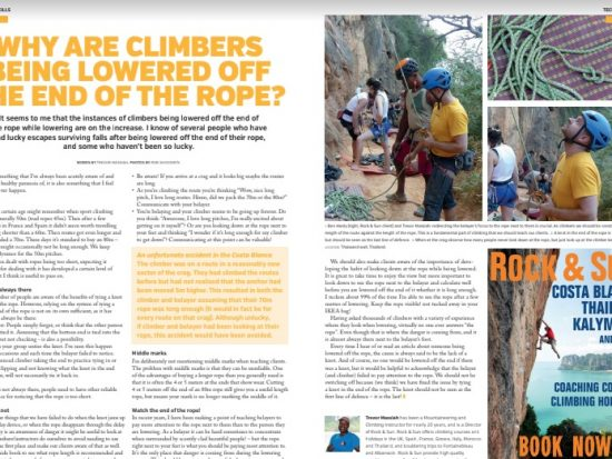 Trevor Massiah's article in Professional Mountaineer on why climbers are being lowered off the end of the rope and how to prevent this